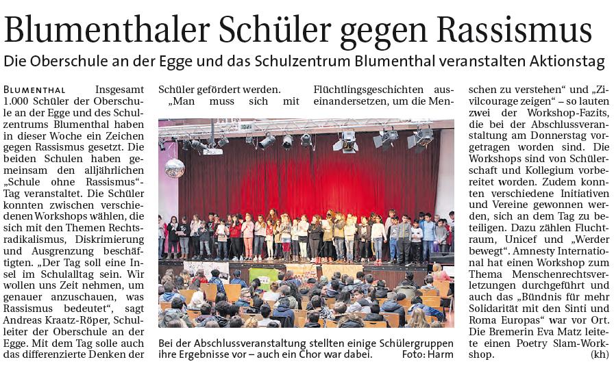 Schule Ohne Rassismus Schulzentrum Blumenthal